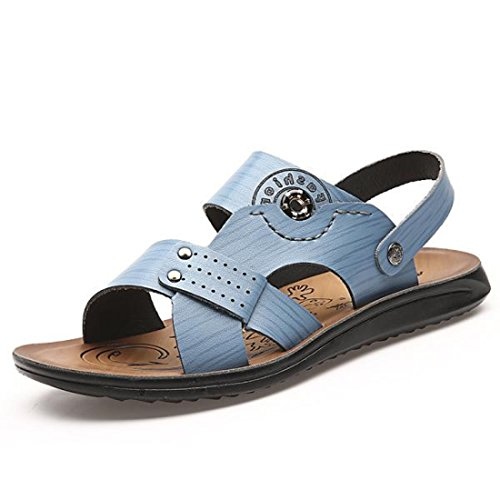 Men's PU Leather Casual Sandals Light Blue