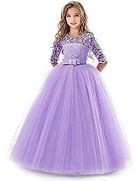 LZH Girls Pageant Embroidery Dress Princess Wedding Party Communion Prom  Ball Gown Dresses … 1170de502da1