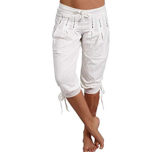 0c8cae628bfa Dihope Femme Pantalon Court 3/4 Sarouel Pantacourt Legging Casual Eté  Confortable Chino Short Mode Plazzo Trousers Pants sans Ceinture
