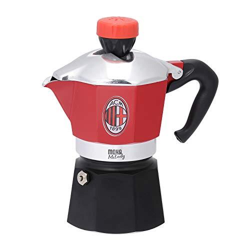 Bialetti industrie melody milan caffettiera 3 tazze, alluminio, rosso