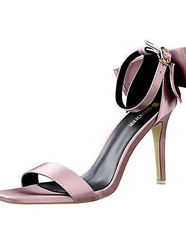 WSS 2016 Chaussures Femme-Soirée & Evénement-Noir / Rose / Violet / Rouge / Gris-Talon Aiguille-Talons / Bout Ouvert-Sandales-Soie gray-us7.5 / eu38 / uk5.5 / cn38