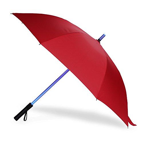 LED Regenschirm im Laserschwert-Design Schwarz Star Wars Schirm mit 7 Farben und Integrierter Taschenlampe (Rot 1)