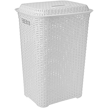 Cello Eliza Plastic Laundry Basket, 50 Liters, Milky White
