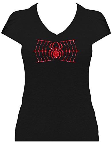 Premium Fun Shirt Spinne im Netz Damen Gothic Shirt mit Glitzeraufdruck Schwarz/Weiß