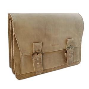 Made in Germany Schultertasche – Laptoptasche PRAGUE aus braunem Rindleder im Vintage-Style inkl. Bio-Lederpflege von THIELEMANN