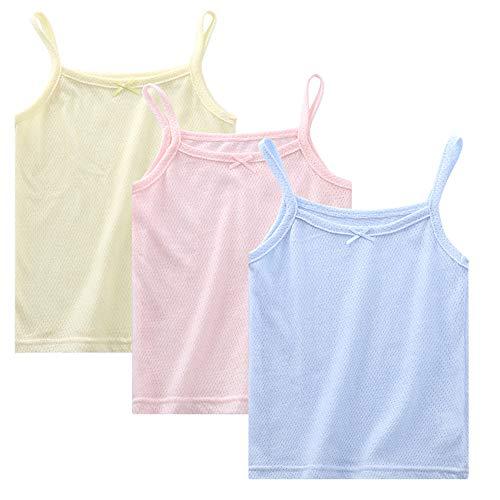 Kidear Kinder-Serie Kleine Mädchen 2-3er Packung Unterhemd Weiche Baumwoll-Trägershirts (3 Farben, 1-2 Jahre)