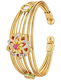 Apara Gold Plated Kada With Red Stone For Women