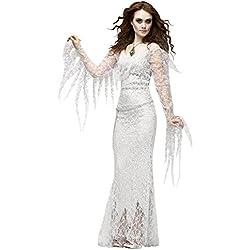 Halloween/traje/para las mujeres/falda sexy/fiesta/novia fantasma/cosplay/princesa-Blanco Free Size
