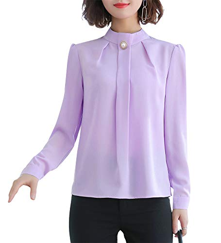 LISUEYNE Damen Langarm-Chiffon-Shirts formelle Arbeitsblusen Tops Casual Shirts für Frauen Gr. X-Large, Purplets-8601l - Schwarzes Jersey, Drape-Ärmel Top