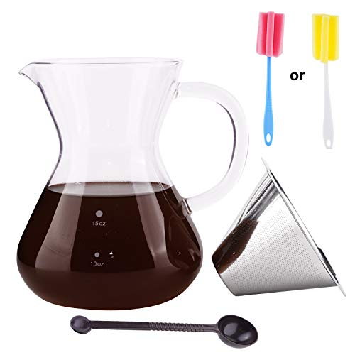 SOPRETY Mini-Reise-Kaffeemaschinen-Set mit Glas-Server, Karaffe, Edelstahl-Tropfer, Filter für Zuhause, Reisen, 450 ml -