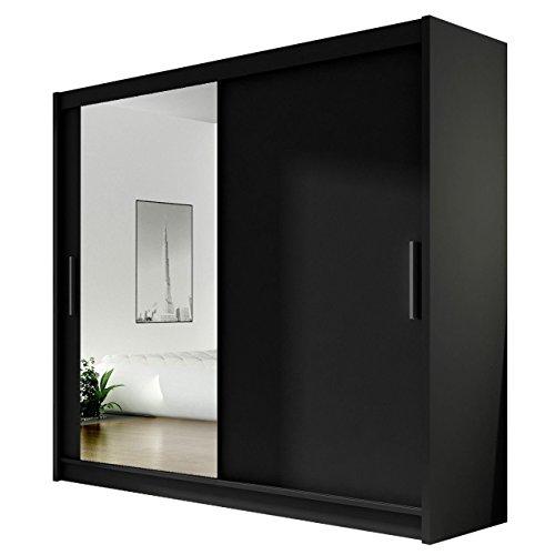 Kleiderschrank mit Spiegel Bega VI, Schwebetürenschrank, Schiebetürenschrank, Modernes Schlafzimmerschrank 180x215x57cm, Garderobe, Schlafzimmer...