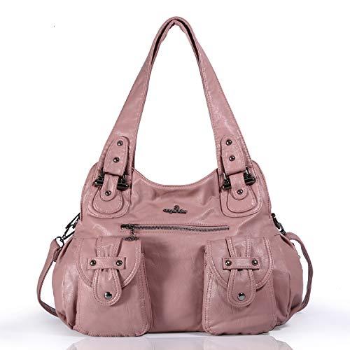 cb5d54adca Angelkiss 2 Top Zippers Multi Pockets Femmes Sacs à main/Bourses en cuir  lavé/
