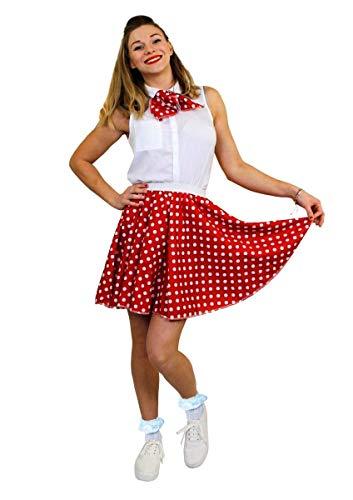 Kinder Kostüm Western Tanz - ILOVEFANCYDRESS DAMEN POLKA DOT ROCK n ROLL KOSTÜM VERKLEIDUNG=10 FARBEN+ 2 GRÖßEN=LÄNGE VON UNGEFÄHR-43 cm=TANZ FASCHING KARNEVAL VERANSTALLTUNGEN=ROT MIT WEIßEN PUNKTEN-PLUS SIZE