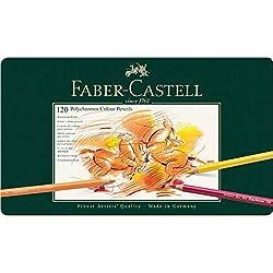 Faber-Castell 110011 - Estuche de metal con 120 lápices de colores polychromos, multicolor
