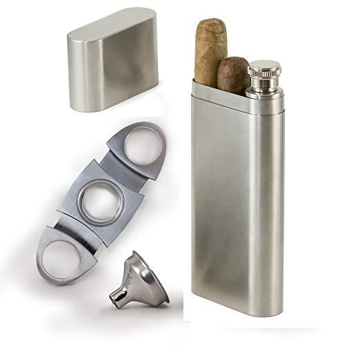 Perfect Pregame Zigarrenetui Geschenkset - Zigarrenbox für 2 Zigarren und 60ml (2oz) Edelstahl Flachmann Combo - Inklusive Zigarrenschneider und Trichter - Großartiger Trauzeugen Flachmann