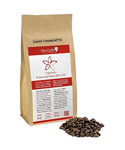L'Art Caffè Caffè Espresso Professional Blend 80% 20%, Miscela Arabica e Robusta, in Grani, Coltivazione in Altitudine, Varietà Bourbon/Typica/Caturra/Canephora, Selezionato a Mano