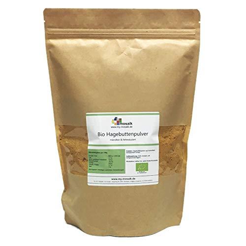 my-mosaik Bio Hagebuttenpulver in Rohkost-Qualität - Hagebuttenfrüchte gemahlen, ohne Zusätze, naturrein, glutenfrei (1000)