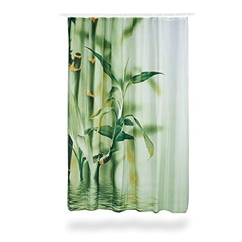 Relaxdays Duschvorhang Bambus Design, Polyester, Textil, waschbar, Pflanze, Stoff, 200 x 180 cm, Wannenvorhang,