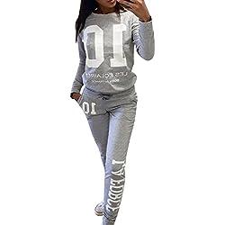 Mujeres Chándales Impresión Pantalones Basculador Sudadera Chaqueta Trajeses Suit Gris S