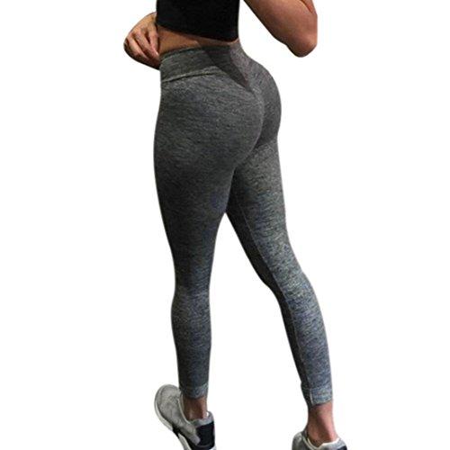Foto de Pantalones yoga mujer , ❤️ Amlaiworld Mujer Pantalones Largos deportivos Leggings para Running Yoga y Ejercicio Mallas mujer leggings push up Pantalones de correr Fitness Polainas de entrenamiento (Gris oscuro, S)