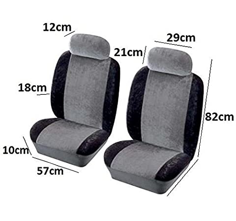 QUALITY FRONT PAIR BLACK AIRBAG CLOTH FABRIC CAR SEAT COVER