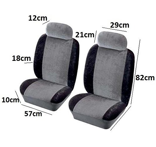 Grey/Black New Car Protection Front Pair Velour Seat Covers - Vehicle Essentials