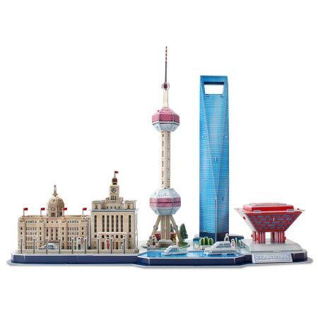 SPYXGS Kreatives 3D Dreidimensionales Puzzle DIY Montiert Modell Stadt Landschaft Handgenäht Montage Spielzeug China Shanghai Allianz China