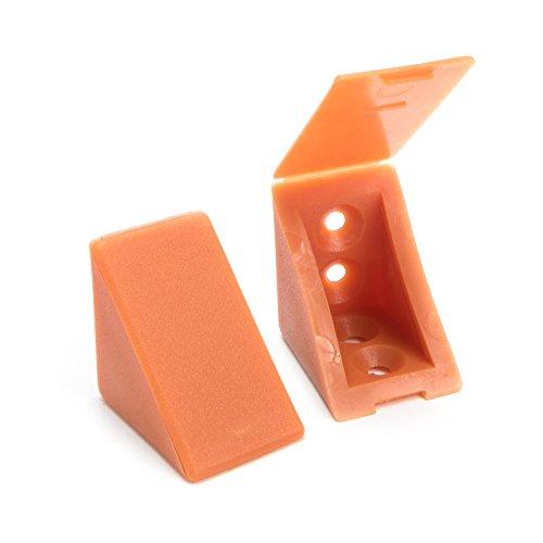 40 x Korpusverbinder/Möbelverbinder/Eckverbinder mit Abdeckklappe | Sossai® BT1, 4-Loch | Farbe : Calvados | Material : Kunststoff