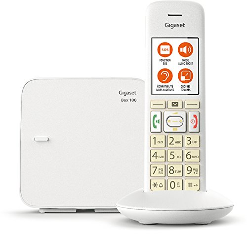 Gigaset E370 Solo - Téléphone fixe sans fil - grosses touches - grand écran - son amplifié - Blanc
