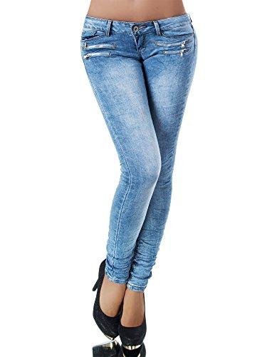 L851 Damen Jeans Hose Hüfthose Damenjeans Hüftjeans Röhrenjeans Röhrenhose Röhre, Größen:38 (M), Farben:Lichtblau