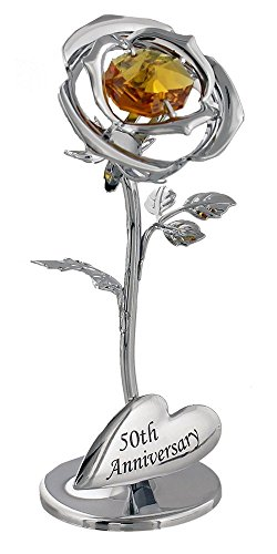 50th Anniversary Silver Plated Flower With Golden Swarovski Crystal Glass By Haysom Interiors