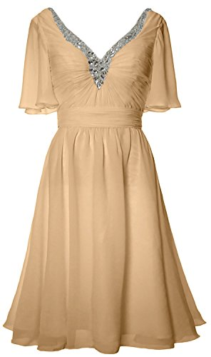 MACloth Women Short Sleeves Mother of Bride Dress V Neck Evening Formal Gown Champagne