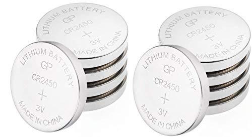 CR2450 Batteries 3V Lithium - Pack of 10 (CR 2450 / DL2450 / ECR2450 /  KCR2450) by GP Batteries - Ideal for BMW Car Keys - Led candles - Motion