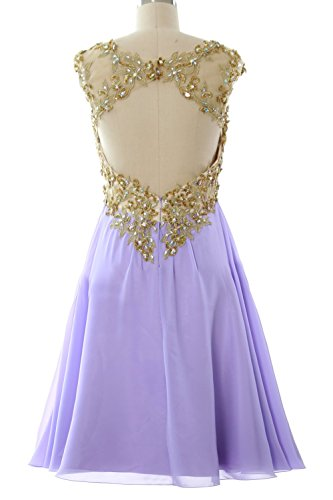 MACloth Women Cap Sleeve Gold Lace Chiffon Short Prom Homecoming Dress Ball Gown Schwarz