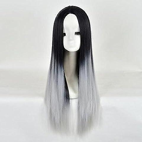 Damen Lange Gerade Glatt Haar Volle Perücke Cosplay Kostüm Schwarz+Grau Wigs