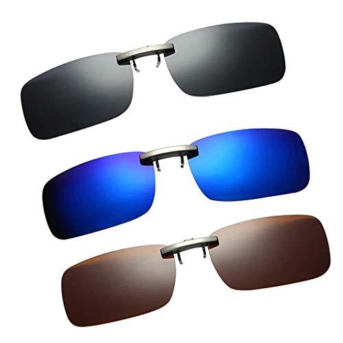 P Prettyia 3pcs Sonnenbrillen-Clip UV400 HD Polarisierte Linse, Unisex-Sonnenbrille Frameless Brillen Clip für Myopia Glasse/Outdoor/Driving