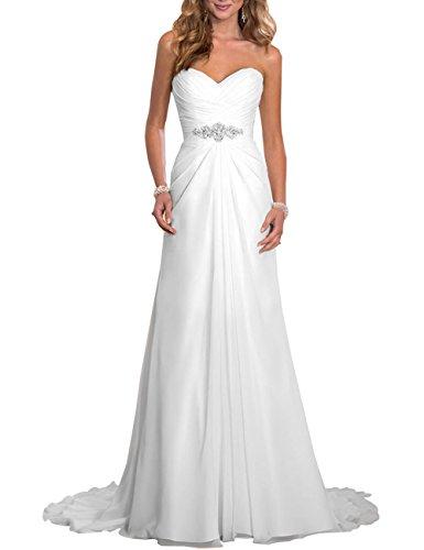 Erosebridal Strand Brautkleid Günstige Hochzeitskleid Weiß DE32