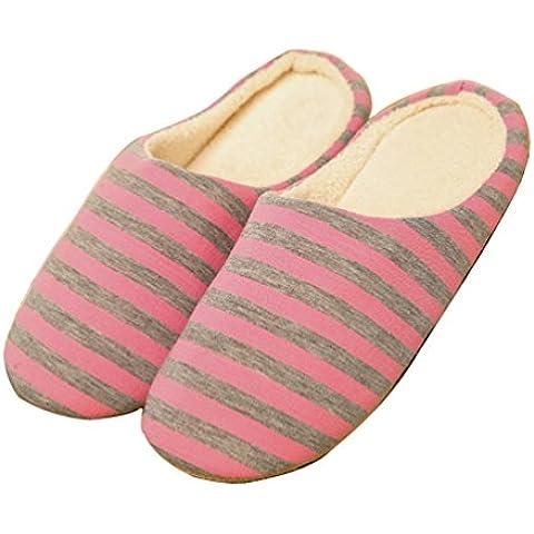 Pantofole di cotone velluto rigato piano coperta invernale unisex