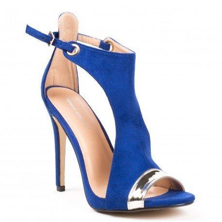 Ideal Shoes - Sandales bi-matière à talons et bout ouvert Alicia Bleu