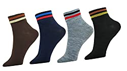 Neska Moda Mens 4 Pairs Multicolor Cotton Ankle Length Socks