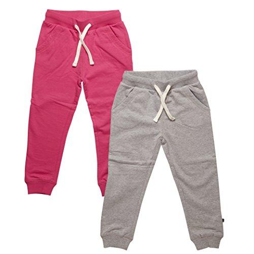 Minymo - Basic 37 -Sweat Pant (2-Pack), Pantaloni per bambine e ragazze, Multicolore (Dark Pink), 7 anni (122 cm)