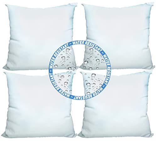 Foamily Premium Kissen für den Außenbereich, Wasser- und schimmelresistent, hypoallergen, quadratische Form, Polyester, Standard/Weiß 18