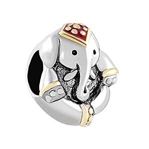 Perlenanhänger von Uniqueen im Design eines antiken Elefanten, Glücksbringer für Armbänder