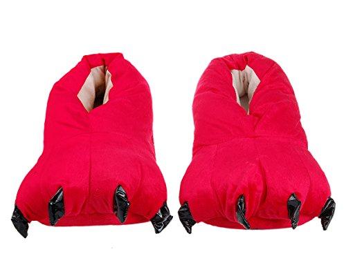 DSstyles Cute Monster Claw Plüsch Hausschuhe Dinosaurier Klaue Schuhe Tiere Paw Hausschuhe Rot