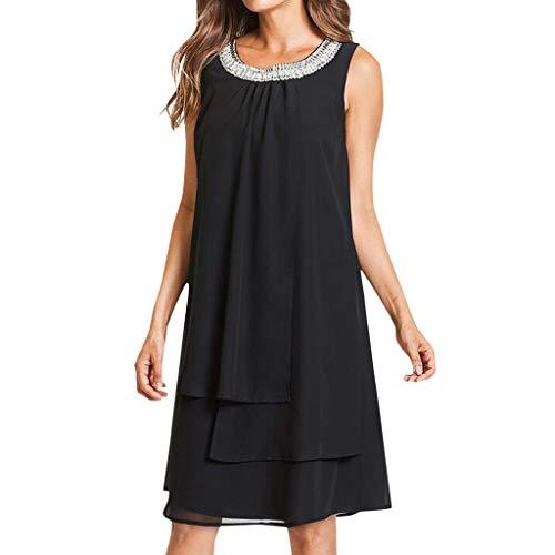 cf3970611a8854 iCerber Boutique Damen Kleider Frauen Chiffon Sommer Langes Shirt Plus Size  Pailletten Oansatz T-Shirt