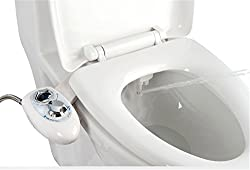 IBAMA Toilet Seat Bidet with Dual Nozzle, Self Cleaning Nozzle, Fresh Water Non-Electric Mechanical Bidet Toilet Attachment (Bidet01-White)