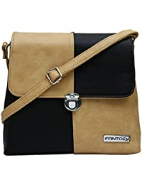 Fantosy Women Beige And Black Zoomy Slingbag Fnsb-162