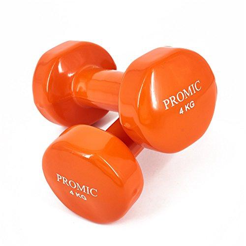 PROMIC Solid Hand Gewichte Deluxe Vinyl Hanteln mit einem rutschfesten Griff für Fitness Übung, Orange, 2 x 4 kg