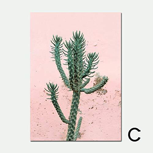 zxddzl Poster di Fenicotteri e Stampa di Cactus Stampa Artistica Poster di paesaggi marini Muro di Cocco Nordico Senza Cornice F 50 * 70