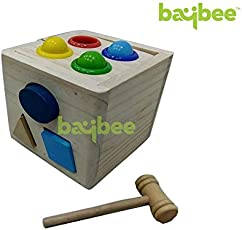 Baybee Premium Wooden Hammer Case - Shape Sorting Wooden Cube /Educational Toy for Children